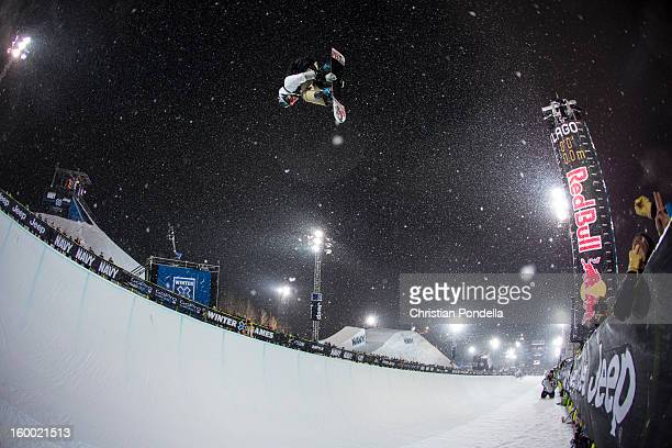 Scotty Lago of the USA rides during Men's Snowboarding Qualifier at the X Games Aspen 2013 at Buttermilk January 24 2013 in Aspen Colorado