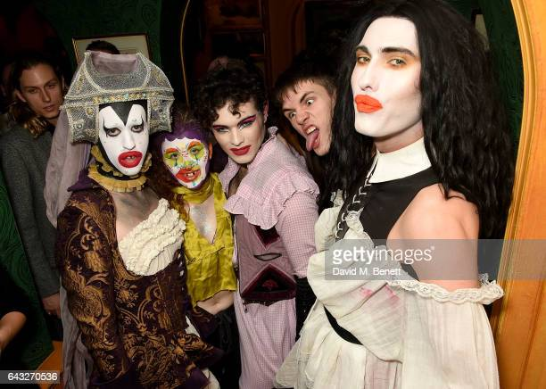 Scotty Sussman Savaughn Harry Charlesworth guest and Charles Jeffrey at the LOVE and Burberry London Fashion Week Party at Annabel's celebrating...