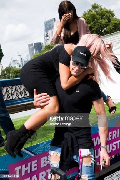 Scotty T and Chloe Ferry attend the Geordie Shore Land of Hope and Geordie photocall to celebrate the launch of series 15 on August 16 2017 in London...