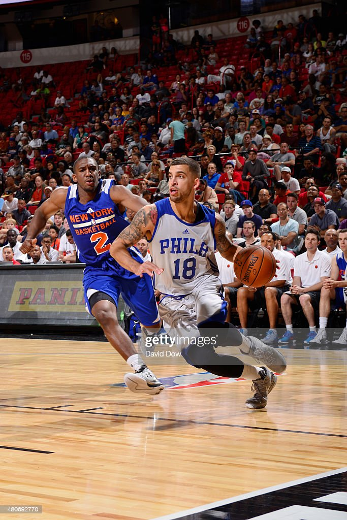 Scotty Wilbekin of the Philadelphia 76ers drives to the basket against Langston Galloway of the New York Knicks during the 2015 NBA Las Vegas Summer...