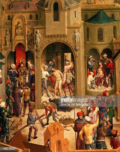 Scourging and crowning with thorns detail from the Passion of Christ Hans Memling oil on panel 57x92 cm Turin Galleria Sabauda