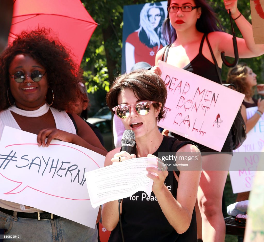 Scout Bratt, Jewish Voice for Peace attends Chicago SlutWalk on August 12, 2017 in Chicago, Illinois.