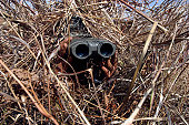 November 7, 2009 - A scout observer practices observation techniques using cover and concealment techniques and a homemade ghillie suit. Scout observers provided target location information to the reg