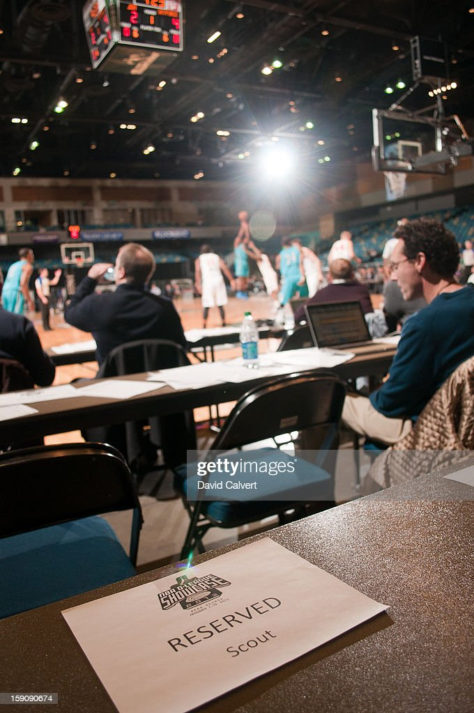 Scout seating during the 2013 NBA D-League Showcase on January 7, 2013 at the Reno Events Center in Reno, Nevada.