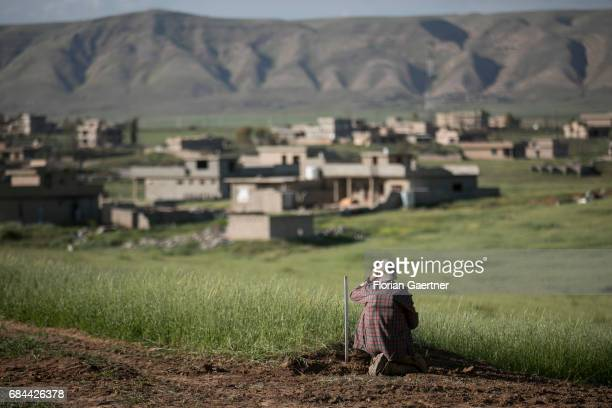 A scout secures an area near Mosul on April 20 2017 in Mosul Iraq