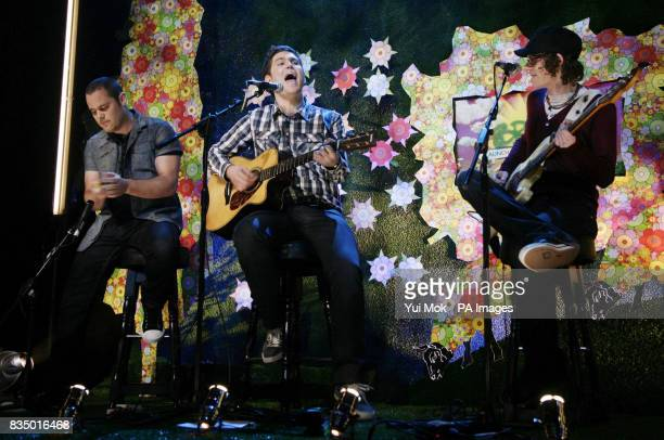 Scouting For Girls performing on stage during the Brit Awards shortlist announcement at the Roundhouse in London