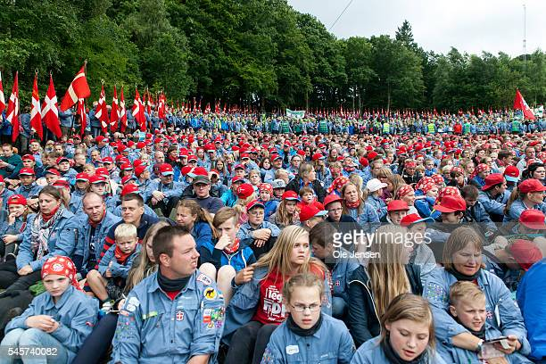 Scouts at FDF summer camp are waiting for Queen Margrethe to appear on the stage where she will hold the camps official opening speech in Ry Denmark...