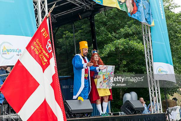 Scouts performs a play for Queen Margrethe during her visit to FDF summer camp in Ry Denmark on July 7 2016 The play was created over this year theme...