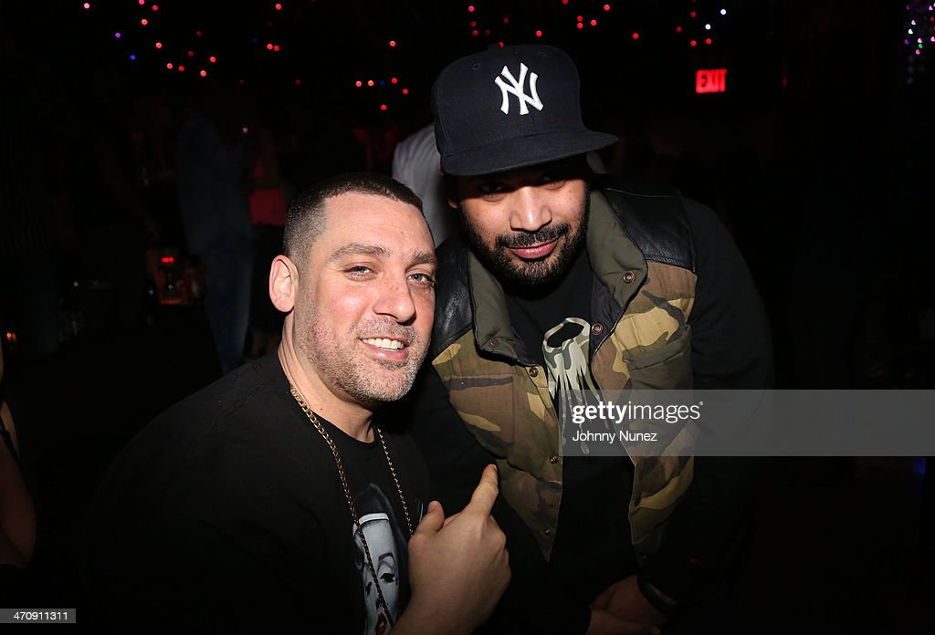 DJ Scram Jones and promoter Adriel Ortiz attend the Kid Capri Birthday Celebration & Euro Performance at Greenhouse on February 20, 2014 in New York City.