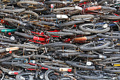 pile of old bicycle for reused