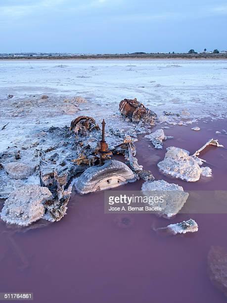 Scrap car polluting the water of a lake