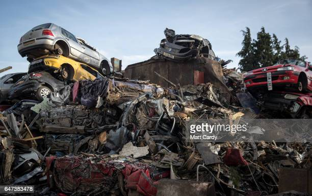 Scrap metal and scrap cars wait to be processed at Pylle Motor Spares and Metal Processing a licensed scrap yard in Pylle near Shepton Mallet on...