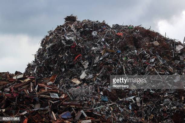 Scrap metal sits stacked at the Altenwerder container terminal at the Port of Hamburg in Hamburg Germany on Wednesday Sept 20 2017 Germany's...