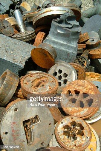 scrapyard at steel works : Stock Photo