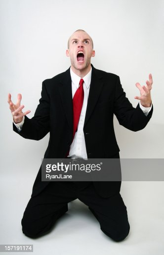 Screaming Angry Young Business Man