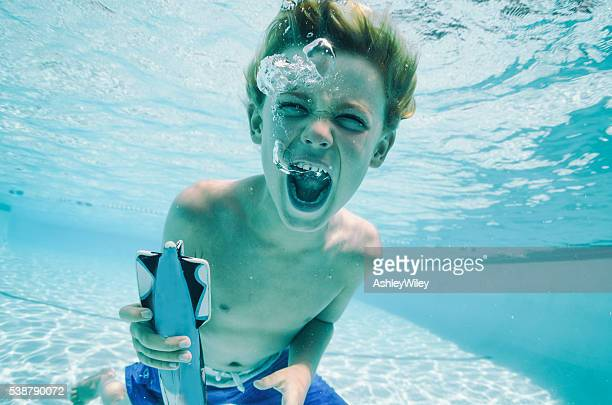 screaming boy underwater