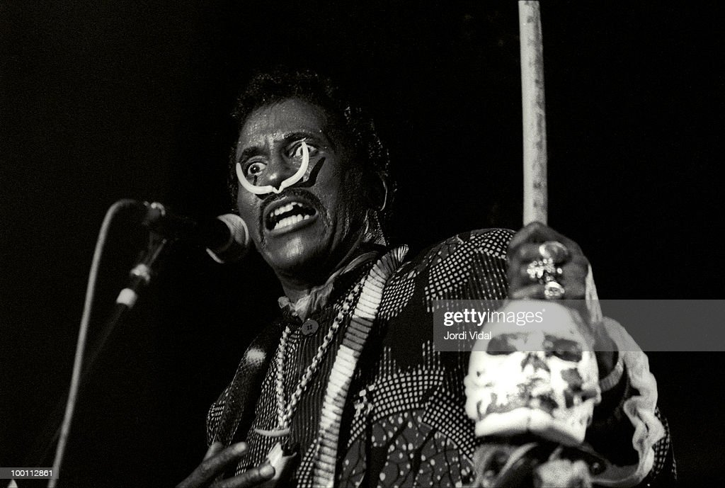 Screaming Jay Hawkins performs on stage during the Blues & Ritmes Festival at Parc de Can Solei on July 07, 1989 in Badalona, Spain.
