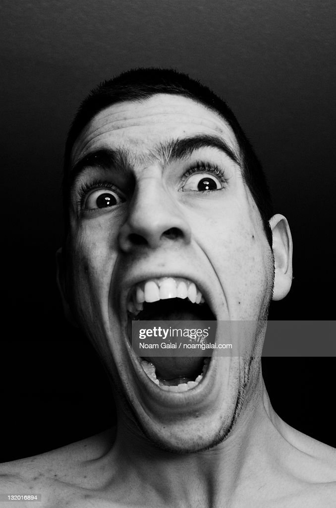 Screaming self portrait : Stock Photo