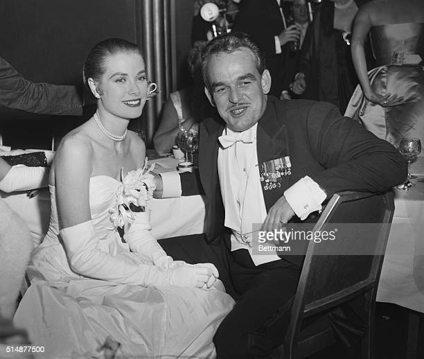 Screen actress Grace Kelly and her husbandtobe Prince Rainier III of Monaco in the Grand Ballroom of the WaldorfAstoria tonight during the Imperial...