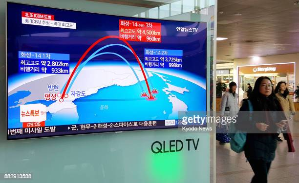 A TV screen at Seoul Station on Nov 29 reports that North Korea has testlaunched an intercontinental ballistic missile the same day claiming it could...