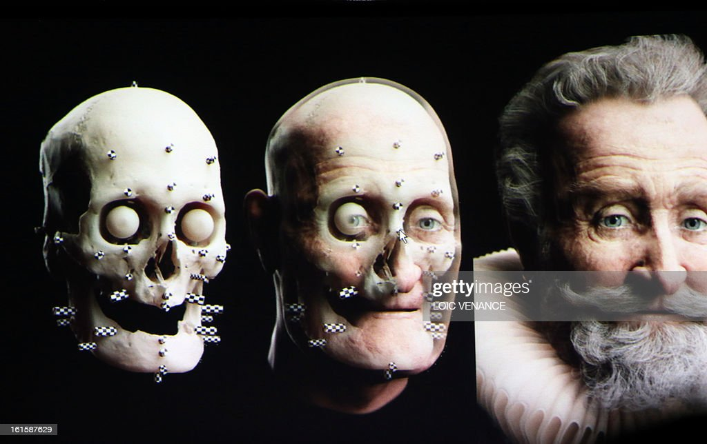 A screen bears three pictures, at left, the skull of French King Henri IV (1553-1610) and at right, its reconstruction, during a press conference in Paris on February 12, 2013. This reconstruction was made three years after a panel of forensic scientists identified the skull of the king who was murdered at the age of 57 on May 14, 1610, by a fanatic. Scientists headed by France's Philippe Charlier found a common genetic profile between the mummified head of Henri IV and dried blood from his descendant, Louis XVI. AFP PHOTO LOIC VENANCE
