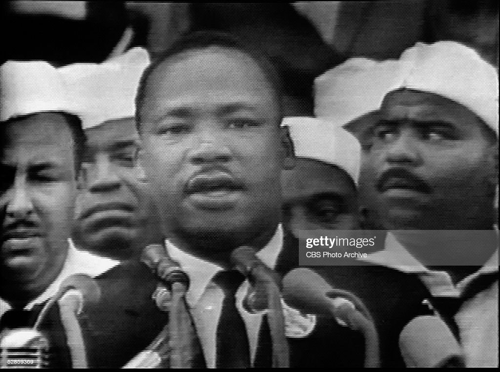 Screen capture from the CBS national broadcast of the 'I Have a Dream' speech of American civil rights leader <a gi-track='captionPersonalityLinkClicked' href=/galleries/search?phrase=Martin+Luther+King+Jr.&family=editorial&specificpeople=70030 ng-click='$event.stopPropagation()'>Martin Luther King Jr.</a> (1929 - 1968), Washington, DC, August 28, 1963. King Jr. delivered his speech on the steps of the Lincoln Memorial to over 200,000 supporters at the March on Washington for Jobs and Freedom.
