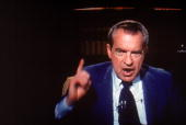 Screen capture of former American President Richard Milhous Nixon gestures emphatically during an interview on 'Frost On America' a television...