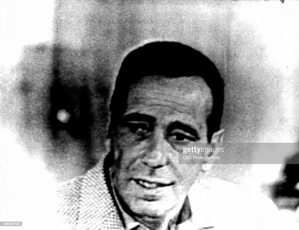Screen capture shows American actor Humphrey Bogart (1899 - 1957) during an interiew on the television show 'Person to Person,' September 3, 1954.