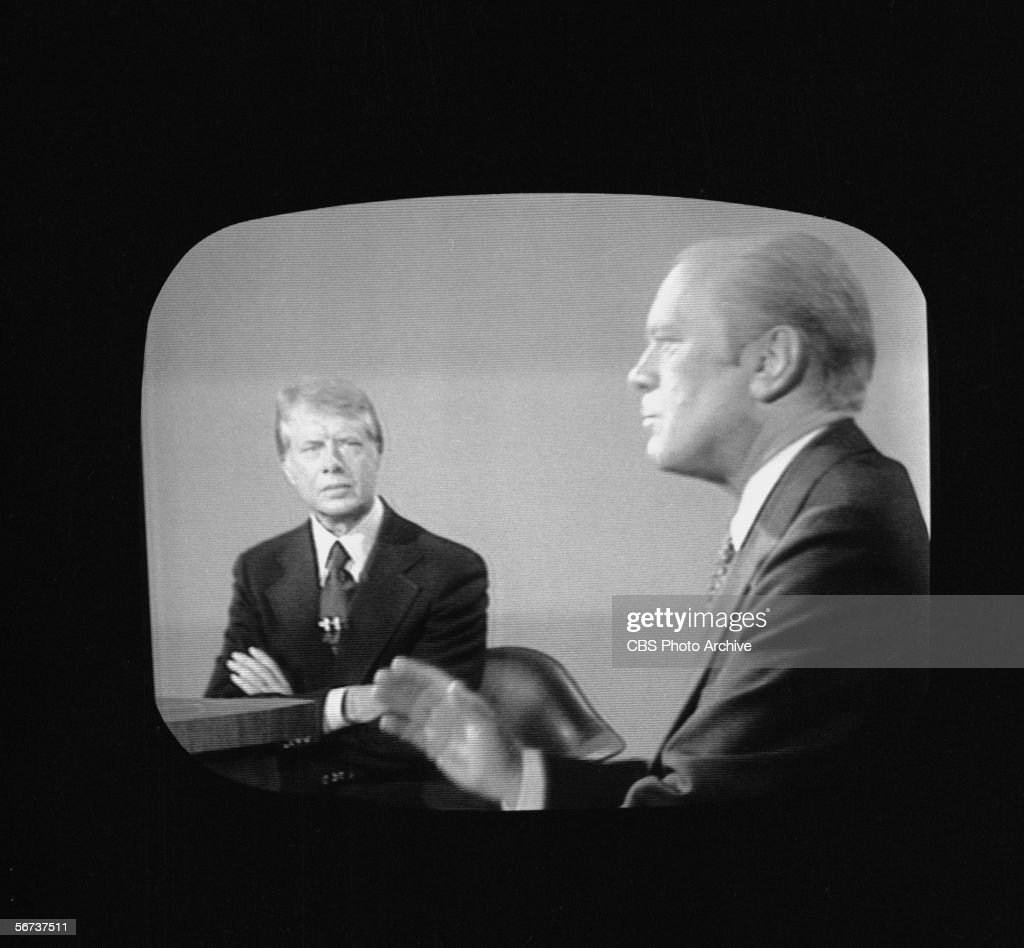 Screen capture shows the second presidential debate between American president Gerald Ford and challenger governor <a gi-track='captionPersonalityLinkClicked' href=/galleries/search?phrase=Jimmy+Carter+-+US+President&family=editorial&specificpeople=93589 ng-click='$event.stopPropagation()'>Jimmy Carter</a> of Georgia, San Francisco, California, October 6, 1976. Carter went on to win by a narrow margin.