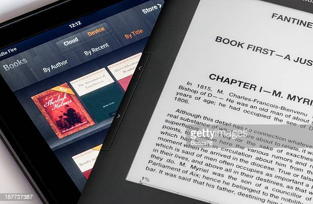 Pantalla comparación de Kindle Fire mesa y teclado, libro electrónico