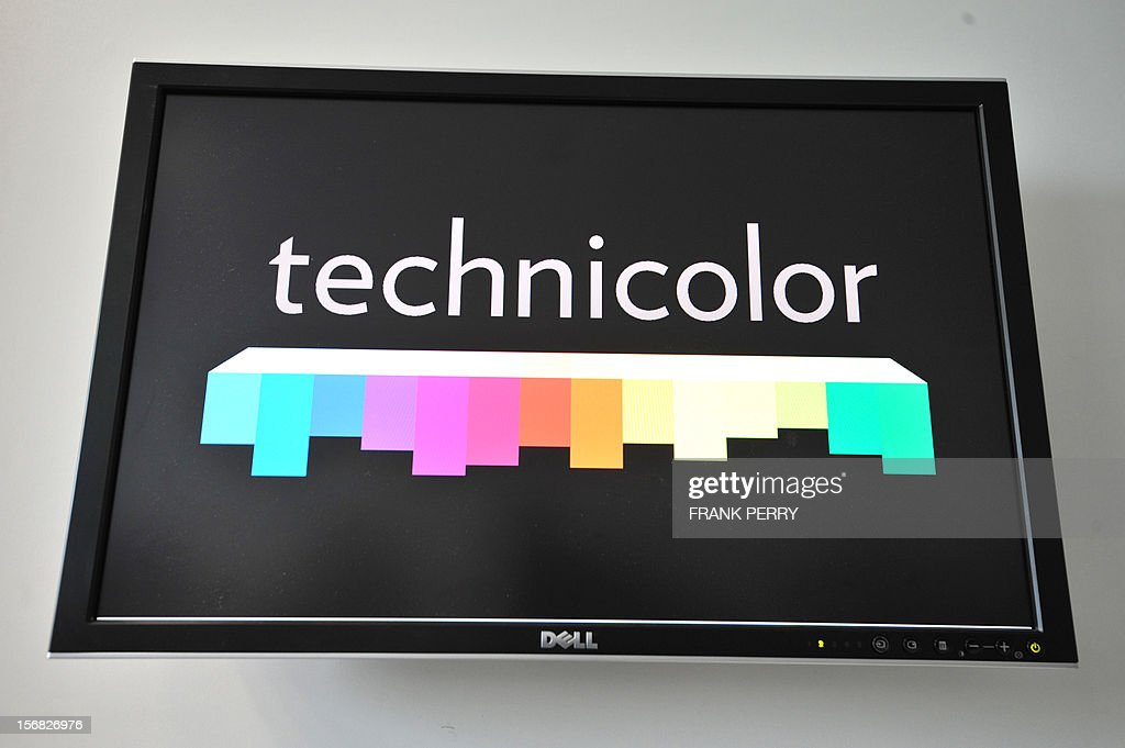 A screen displayining the logo of the new Technicolor research and development centre is pictured during the press conference inaugurating the centre in Cesson-Sevigne near the central western city of Rennes on November 22, 2012. AFP PHOTO FRANK PERRY