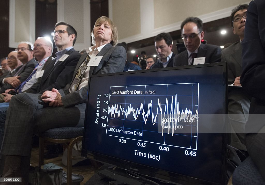 A screen displays a diagram showing the ripples in the fabric of spacetime called gravitational waves that scientists have observed for the first time by the LIGO detector, confirming a prediction of Albert Einstein's theory of relativity, during a press conference at the National Press Club in Washington, DC, February 11, 2016. The machines that gave scientists their first-ever glimpse at gravitational waves are the most advanced detectors ever built for sensing tiny vibrations in the universe.The two US-based underground detectors are known as the Laser Interferometer Gravitational-wave Observatory, or LIGO for short. LOEB