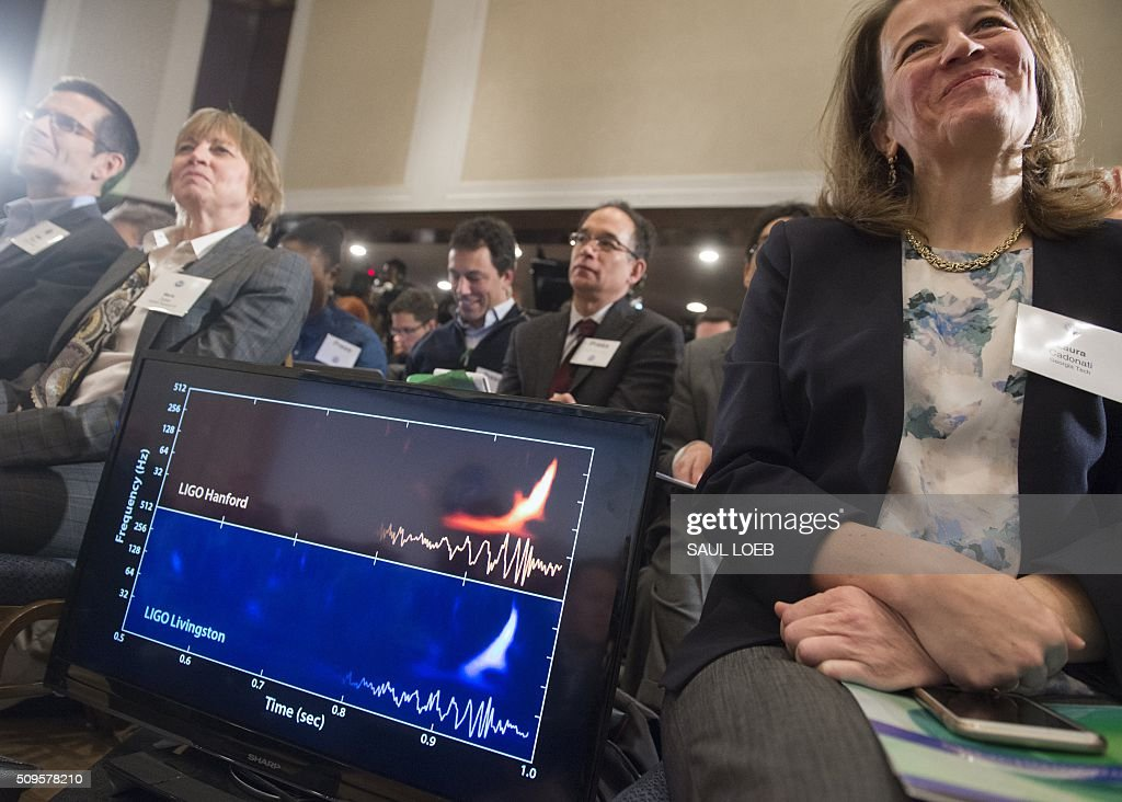 A screen displays a diagram showing the ripples in the fabric of space-time called gravitational waves that scientists have observed for the first time by the LIGO detector, confirming a prediction of Albert Einstein's theory of relativity, during a press conference at the National Press Club in Washington, DC, February 11, 2016. The machines that gave scientists their first-ever glimpse at gravitational waves are the most advanced detectors ever built for sensing tiny vibrations in the universe.The two US-based underground detectors are known as the Laser Interferometer Gravitational-wave Observatory, or LIGO for short. LOEB