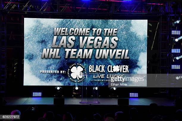 A screen displays a welcome message before the Vegas Golden Knights was announced as the name for the Las Vegas NHL franchise at TMobile Arena on...