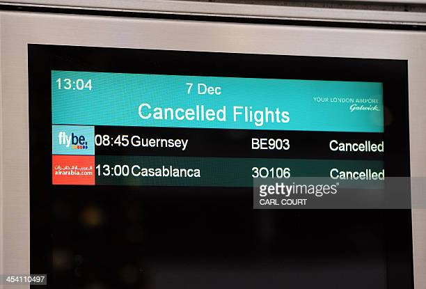 A screen displays cancelled flights at Gatwick Airport in southern England on December 7 2013 A 'technical problem' in Britain's air traffic control...