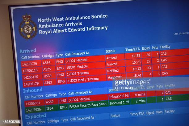 A screen displays inbound and current patients in the Accident and Emergency department of the 'Royal Albert Edward Infirmary' in Wigan north west...