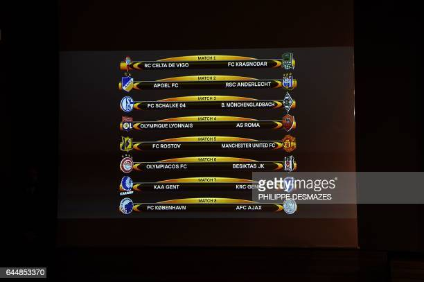 A screen displays the clubs that will be facing each other following the draw for the round of 16 of the UEFA Europa League football tournament in...