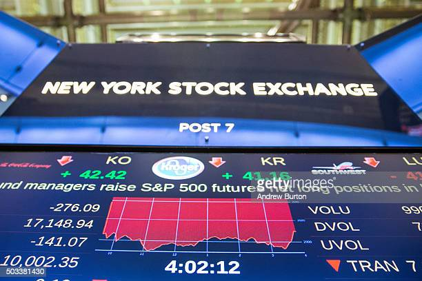 A screen displays the current status of the New York Stock Exchange during the afternoon of January 4 2016 in New York City Today marks the first day...
