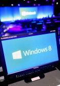 A screen displays the Microsoft Windows 8 operating system at a press conference for the launch of the system on October 25 2012 in New York City...