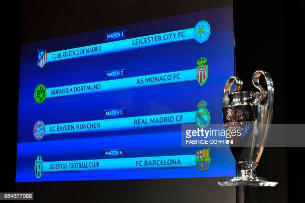 A screen displays the names of the clubs that will be facing each other during the quarterfinal draw of the UEFA Champions League football tournament...