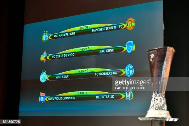 A screen displays the names of the clubs that will be facing each other during the quarterfinal draw of the UEFA Europa League football tournament at...