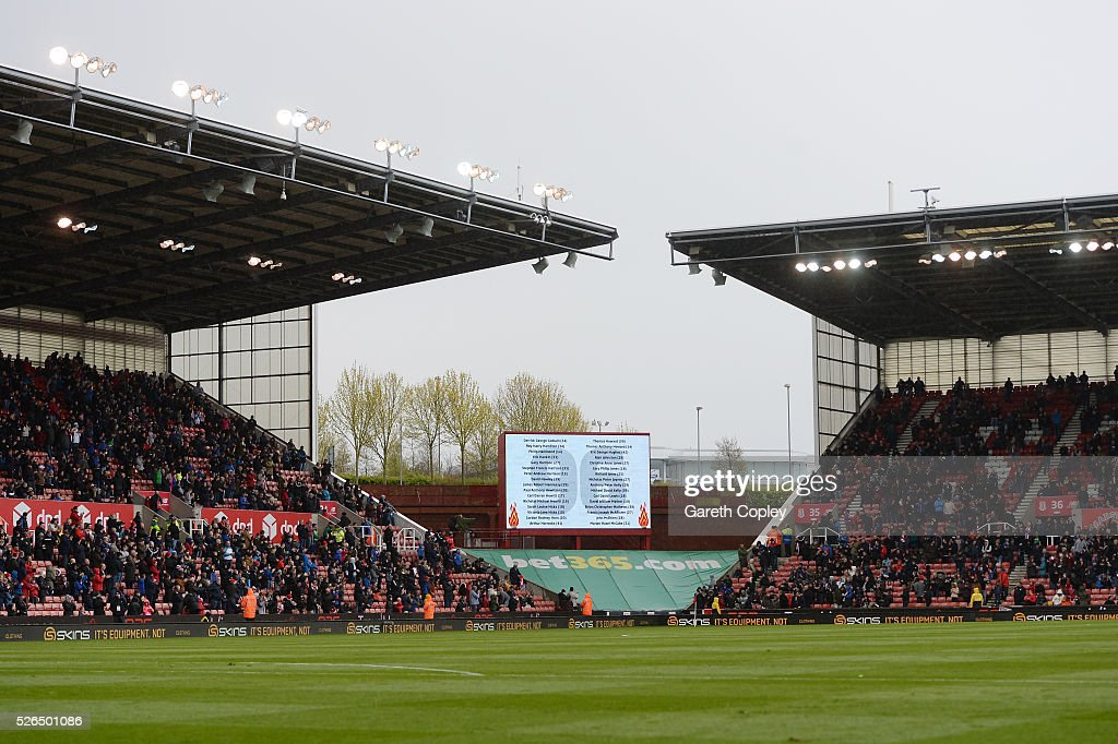 A screen displays the names of the victims of the Hillsborough disaster prior to the Barclays Premier League match between Stoke City and Sunderland at the Britannia Stadium on April 30, 2016 in Stoke on Trent, England.