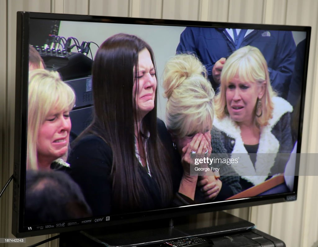 A TV screen displays the reaction of (L-R) Michele MacNeill's sister Linda Cluff, her daughter Alexis Somers, and sisters Susan Hare and Terry Pearson to the guilty verdict of Martin MacNeill for the murder of his wife Michele MacNeill on November 9, 2013 in Provo, Utah. Martin MacNeill was found guilty of murdering his wife Michele MacNeill in 2007 and will face up to life in prison when he is sentenced in January.