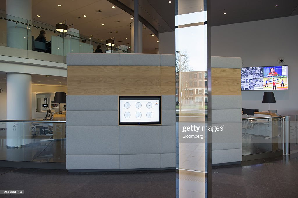 A Screen Displays World Time Zone Clocks In Lobby Of The Rabobank Group Headquarters Utrecht