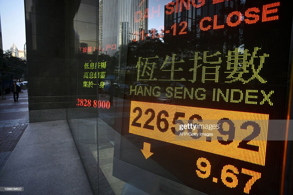 A screen flashes the Hang Seng index closing numbers for 2012, inside a bank in Hong Kong on December 31, 2012. The benchmark Hang Seng Index closed 9.67 points lower to finish at 22,656.92 on turnover of 3.71 billion USD in half-day trade ahead of the New Year break. AFP PHOTO / Antony DICKSON