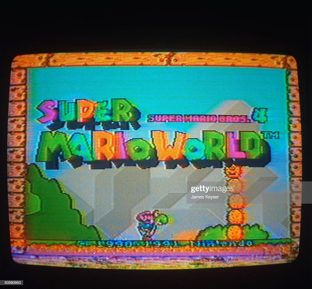 Screen fr. Nintendo's Super Mario Bros. Mario World video game.