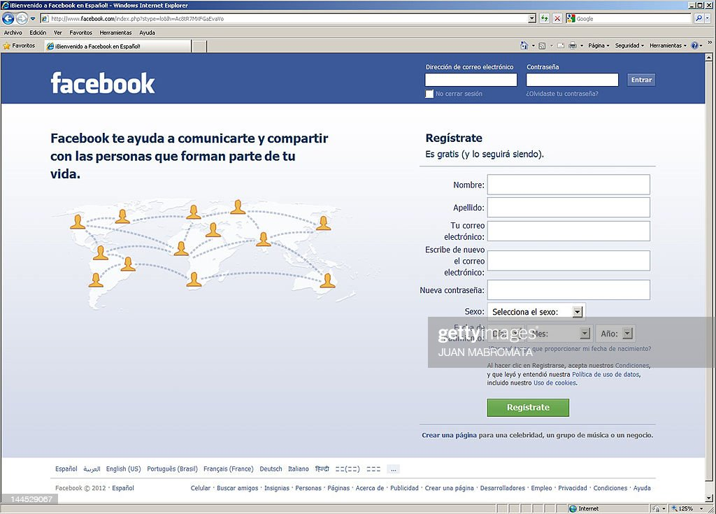 Screen grab of the homepage of Facebook in the Spanish language, taken in Buenos Aires on May 10, 2012. Social-networking giant Facebook will go public on the NASDAQ May 18 with its initial public offering, trading under the symbol FB, in an effort to raise $10.6 billion. AFP PHOTO/JUAN MABROMATA