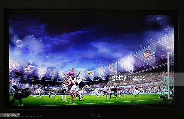 Screen grabs of artists impression of how the stadium will look with West Ham playing their matches at the Olympic Stadium during the press...