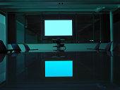A screen in an empty board room