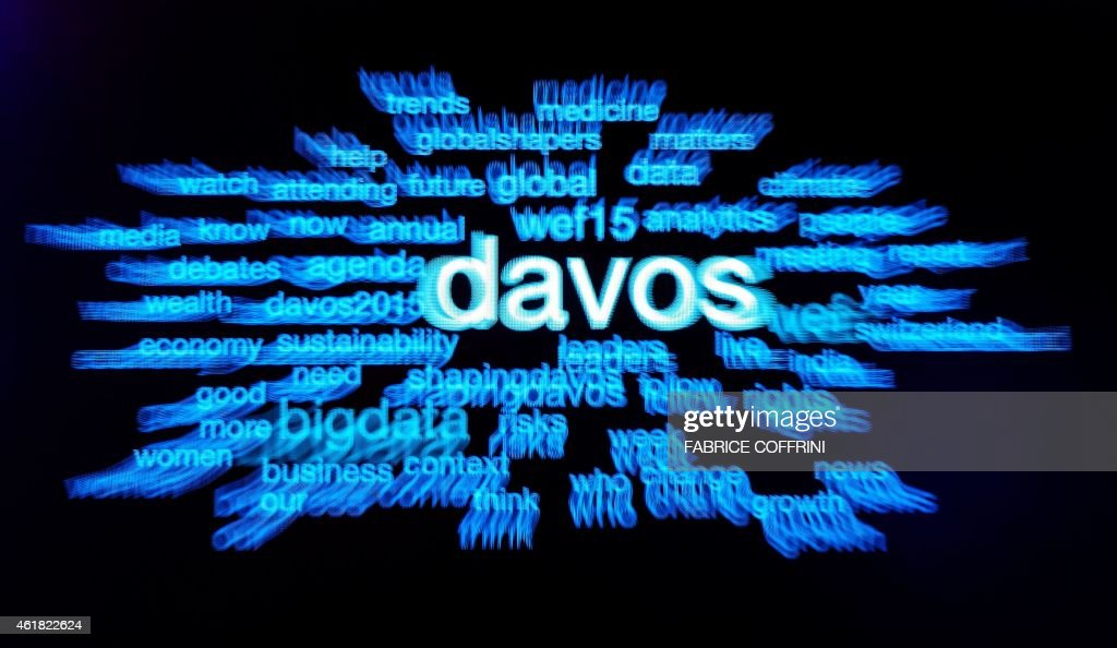 A screen is pictured at the Congress Center on the eve of the World Economic Forum annual meeting in Davos on January 20 2015 World leaders including...